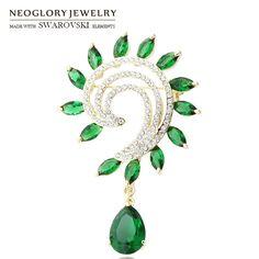 Neoglory Austria Strass & Zircone Spilla Della Lega Placcato Oro Trendy Lady Style Monili Eleganti Per Partito Romantico Regalo