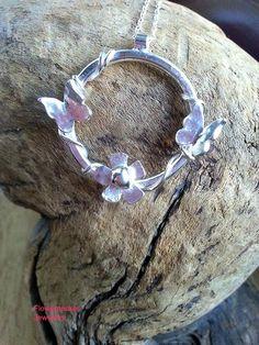Butterfly Silver Pendant Vine Silver Necklace Hoop by flowerpecker