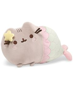 Fans of Pusheen the tabby cat will love GUND's Pusheen Mermaid Plush Toy. With an embroidered tail and a starfish accent at her ear, Pusheen has been transformed into a mermaid and will quickly become your child's go-to companion. Kawaii 365, Chat Kawaii, Gato Pusheen, Mermaid Pose, Mermaid Cat, Mermaid Style, Grey Tabby Cats, Image Chat, Mode Shop