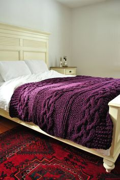 Chunky Cable Knit Throw Blanket in Deep PlumbCabled Wool Hand ...