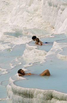 Pamukkale, Turkey - thermal pools, salt terraces.