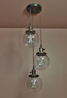 3 Light Chandelier  Cascading Pendant Lights  by BlueMoonLights, $269.00