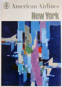 American Airlines New York by Laurence Gaynor, ca. 1968 - fabulous expressionistic view of the New York City skyline