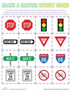 Worksheets: Make a Match: Street Signs