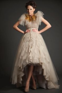 Dreamy Blush Tulle High-Low gown by ASHi with fabulous jewelry by Abeer Baghdadi