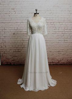 V-neck Lace Half Sleeves Wedding Dress