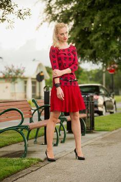 plaid shirt, pleated skirt, black pumps, black belt, black bracelet, work outfit http://www.kslookbook.com/2014/06/rock-chic.html
