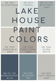 the best blues, grays, and neutral paint colors for a lake house Lake House Blue and Gray Paint Colors. Best soothing an neutral blue and gray paint colors for a lake home or coastal space. Grey Paint Colors, Paint Colors For Home, Farmhouse Paint Colors, Paint Color Schemes, Cabin Paint Colors, Beach Color Schemes, Best Bathroom Paint Colors, Basement Paint Colors, Interior Color Schemes
