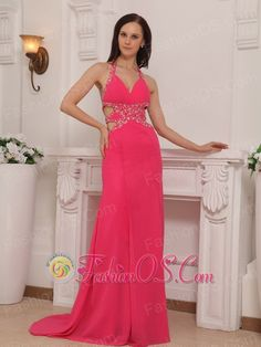 Coral Red Column Halter Brush Train Chiffon Beading Prom / Pageant Dress- $152.16  http://www.fashionos.com  http://www.youtube.com/user/fashionoscom?feature=mhee   Sexy, sexy and sexy are the only words to describe this dress. It's made in a traditional sheath style with a V-neckline and heavily bead-embellished straps. The waist features clear beading which are trimmed in the same bead-embellishments as the straps. The open waist is good for accentuating the waist.