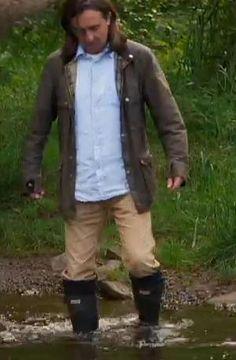 Neil having a paddling in The Quest for Bannockburn.