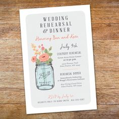Mason Jar Invitation | Personalized Printable Wedding Rehearsal & Dinner Invite by NikitaRossbergDesign on Etsy https://www.etsy.com/listing/199765898/mason-jar-invitation-personalized