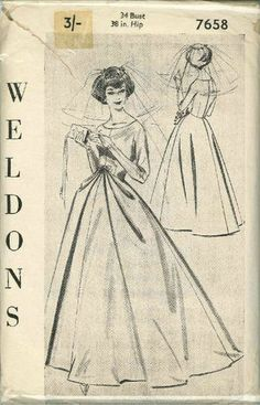 Vintage Bridal Gown or Evening Dress Sewing Pattern W7658 Bust 34 | eBay