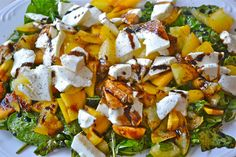 Spinach and Arugula Peach Caprese Salad - Mother Thyme