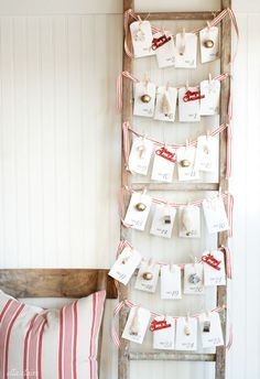 "Write down 25 fun winter activities on these printable notecards, and tuck them inside matching envelopes – €""then string 'em up on a vintage ladder with decorative ribbon for a sweet take on an Advent calendar."
