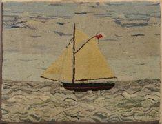Hooked Rug of a Small Sailboat
