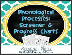 Phonological Processes Screen & Progress Charts with Pictures! Articulation Therapy, Speech Therapy Activities, Language Activities, Phonological Processes, Phonological Awareness, Speech Language Pathology, Speech And Language, Therapy Ideas, Therapy Tools