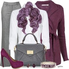 Grey is one of the big colors for fall. But that doesn't mean you can't add some color. Just think of how captivating you'll be in this particular palette. - See more at: http://stylesweekly.com/23-outfits-great-work/#sthash.fSkku0VX.dpuf