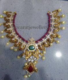 Peacock Set with Ruby Beads String Antic Jewellery, India Jewelry, Bead Jewellery, Beaded Jewelry, Gold Jewelry, Gold Necklace, Short Necklace, Necklace Set, Diamond Jewelry