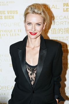 Actress Naomi Watts at last week's L'Oreal Paris event wearing the Freesia slip from the La Perla FW14 collection.