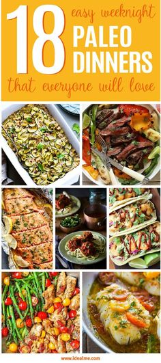 Are you starting out on the Paleo diet and looking for meal ideas? Check out this amazing round up of 18 easy weeknight Paleo dinners that everyone will love! dinner beef 18 Easy Weeknight Paleo Dinners That Everyone Will Love - Ideal Me 1200 Calorie Diet Meal Plans, Paleo Meal Plan, Meal Prep, Menu Dieta Paleo, Paleo Menu, Weeknight Paleo, Weeknight Dinners, Cena Paleo, Paleo For Beginners