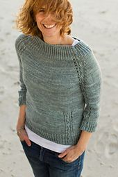 Knit in a gorgeous blue-gray, like the sky and water on the beach in spring. A classic pullover with delicate slip stitch cabling details, which are supposed to look like little waves at the edge of the sand.