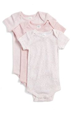 Nordstrom Baby Short Sleeve Cotton Bodysuits (3-Pack) (Baby Girls) available at #Nordstrom