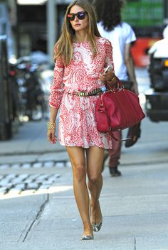 Olivia Palermo wearing Louis Vuitton Sofia Coppola Satchel bag Pretty Ballerinas Montreal snake flats H Belt ASOS Skater Dress In Paisley Print With Lace Up Sleeve Westward Leaning N9.9. Color Revolution Sunglasses in Neon Sunset New York City on August 14 2013