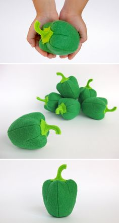 Felt play food Pepper Green (1 pc) by MyFruit I suggest you to buy realistic stuffed toys, made of felt for your little ones. For playing the Garden Harvest Kitchen Shop etc.  —————————————————————  ♥ unique design, are just like real ♥ small (4 in) and light (0,3 oz) ♥ safe for your children - do not contain plastic, glue and wire  The most popular items in my store that you might be interested in: ❀ Playset Felt Garden with 12 vegetables www.etsy.com/listing/462237319/ ❀ Big soft toy Corn…