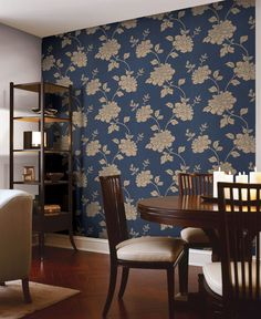 navy blue and brass wallpaper feature wall gorgeous dining room decor idea