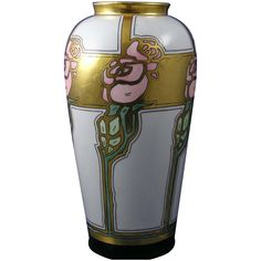 "Zeh, Scherzer & Co. (ZS&Co) Bavaria Arts & Crafts Rose Motif Vase (Signed ""Nelle L. Jackson""/Dated 1919)"