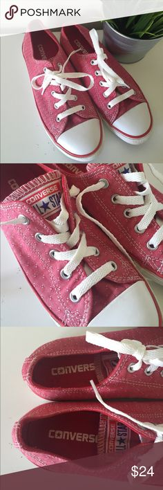Red textured Converse All Star shoes Great used condition. Red with texture. Sz 5. Converse Shoes