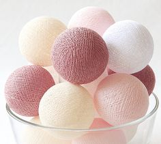 Sweet Rosy Brown Pastel 20 Handmade Cotton Ball Patio Party String Lights – Fairy, Wedding, Holiday, Home Décor on Etsy, ฿333.00