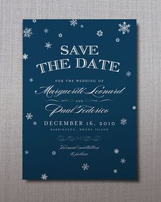 A smattering of snowflakes against rich navy feels crisp and classic. Elegant Snow save-the-date, Courtesy of A Printable Press #savethedate #winterwedding
