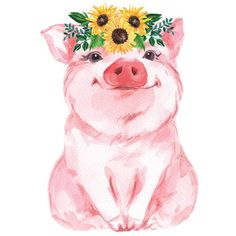 Sunflower Piggy Baby Onesie®, Baby Shower Gift, Piggy Baby Bodysuit, Farm Baby Onesie, Funny Baby On Wallpaper Fofos, Pig Art, Baby Pigs, Cute Pigs, Animal Paintings, Funny Babies, Cute Art, Watercolor Art, Cute Animals