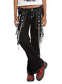 HOTTOPIC.COM - Tripp Black And White Lace-Up Chain Pants