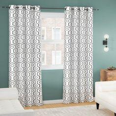 """Corrigan Studio Nogales Geometric Blackout Thermal Grommet Curtains Panels Color: Black Pearl, Size: 54"""" W x 84"""" L"""