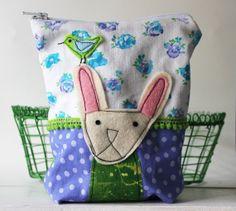 Pupuja täälläkin ! Spring bunny with bird  zippy pouch with applique by syko on Etsy, €22.00