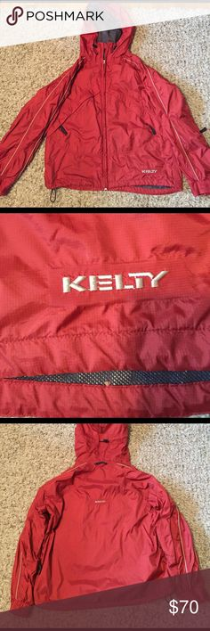 Kelty rain jacket Kelty brand rain jacket, in burnt orange color. Size large. One zipper pocket on the inside and two zipper pockets on the outside, along with a pull tight neck line and hood. Mesh material on the inside. Super warm and 100% water proof. NOT Patagonia brand. Patagonia Jackets & Coats