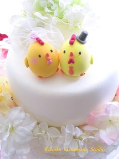 LOVE ANGELS Wedding Cake Topper-love chicken,rooster, chick, hen. $100.00, via Etsy.