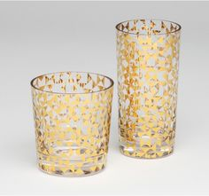 glasses that really invite to drink something fancy - gold triangle drinking glasses $62.50