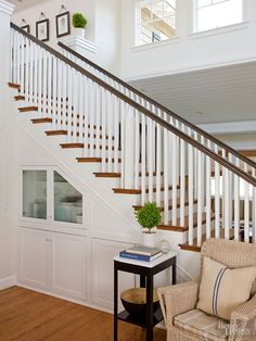 Look beneath your staircase and steps to find square footage awaiting your creative touch. Open up a stairway wall to harvest ample space for bookcases, cabinets, drawers, pantry-style pullouts, or a reading nook furnished with a built-in bench. Take advantage of the empty space under each step: Place custom-built drawers beneath stair treads on built-in glides that allow the draws to slide easily in and out.