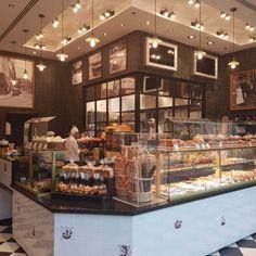Paul's Bakery Lighting Project – Industville Industrial Coffee Shop, Rustic Coffee Shop, Vintage Coffee Shops, Cute Coffee Shop, Small Coffee Shop, Coffee Shop Bar, Rustic Cafe, Rustic Bakery, Bakery Shop Design