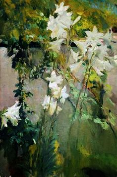 Joaquin Sorolla i Bastida - White Lilies Lily Painting, Plant Painting, Garden Painting, Garden Art, Painting & Drawing, Art Floral, Abstract Landscape, Landscape Paintings, Spanish Artists