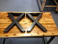 X Metal Bench Legs 2 Tube  Adjustable Feet by TheLegShoppe on Etsy