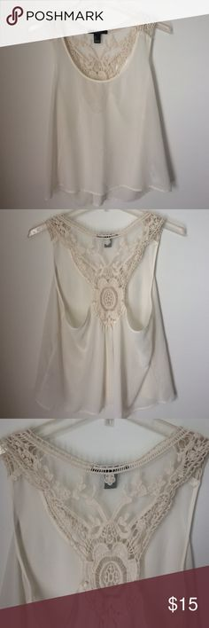 Forever 21 Razorback Top w/ Crochet Detail Pre-Loved and Excellent Condition Top. High/Low effect Forever 21 Tops