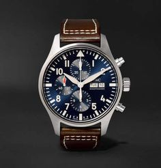 Iwc Schaffhausen Pilot's Le Petit Prince Edition Chronograph Stainless Steel And Leather Watch - Navy - One Siz Iwc Watches, Cool Watches, Watches For Men, Cheap Watches, Casual Watches, Wrist Watches, Iwc Chronograph, Iwc Pilot, Men's Watches