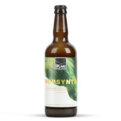 """Hopsynth Dry-Hopped Sour Ale """"blending younger batches of their blonde base sour, Basis, then dry-hopping with new and experimental varieties of hops. This non–traditional combination results in a unique balance of tart and hoppy avors, as well as a range of hop aromas, including pine, tropical fruits and citrus notes. Drink this tart, dry, refreshing sour ale as fresh as possible to get the full effect. """" Upland Brewing Company, Bloomington MN (500ml 6%) Dec 2016"""