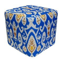 Handcrafted Ikat Outdoor Pouf Ottoman
