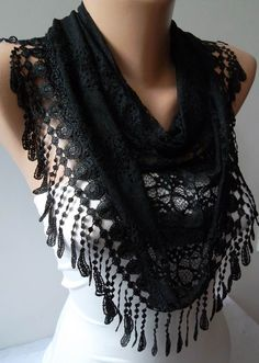 Laced Black Scarf