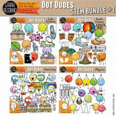 Dot Dudes STEM Clip Art Bundle 1 – Life and Earth Science, Chemistry, Physics - Education Science Chemistry, Earth Science, Life Science, Water Cycle Diagram, Image Rock, Newton's Cradle, Curved Arrow, Blank Poster, Black N White Images